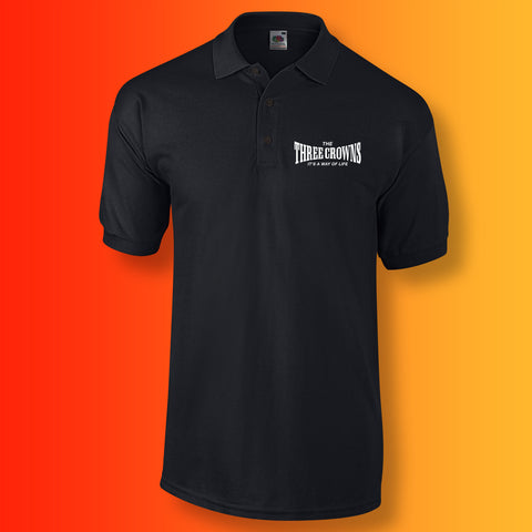 Three Crowns Polo Shirt with Way of Life Design Black
