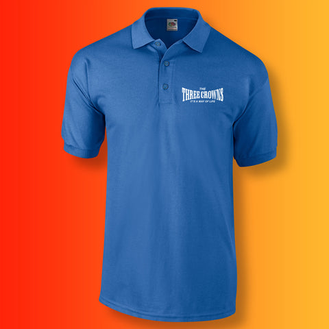 Three Crowns Polo Shirt with Way of Life Design Royal