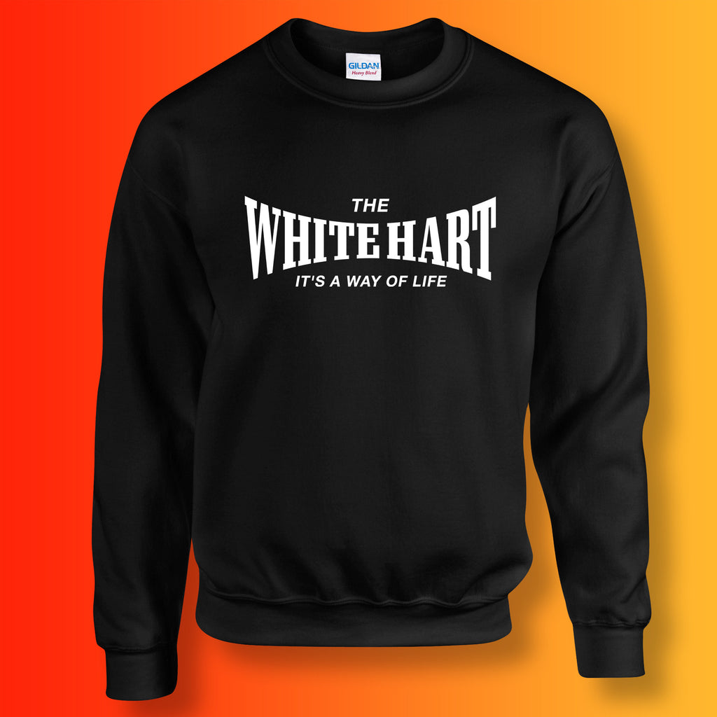 White Hart Sweater with It's a Way of Life Design Black