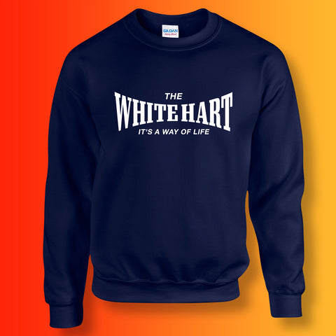 White Hart Sweater with It's a Way of Life Design Navy