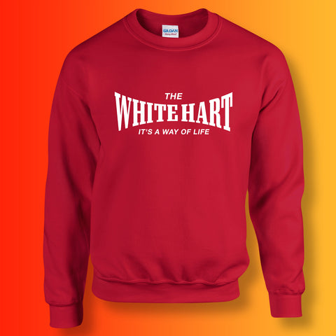 White Hart Sweater with It's a Way of Life Design Red