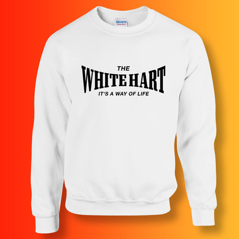 White Hart Sweater with It's a Way of Life Design White