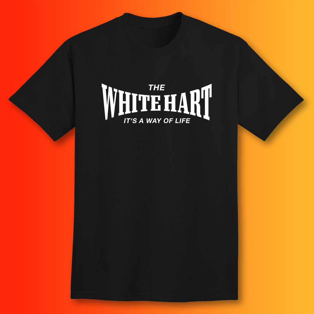 The White Hart T-Shirt with It's a Way of Life Design Black