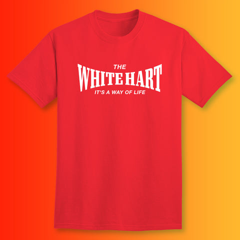 The White Hart T-Shirt with It's a Way of Life Design Red