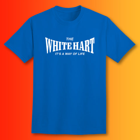 The White Hart T-Shirt with It's a Way of Life Design Royal