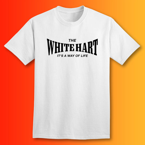 The White Hart T-Shirt with It's a Way of Life Design White