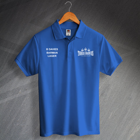The Three Crowns It's a Way of Life Unisex Printed Polo Shirt Personalised with Name, Pub Role & Drink