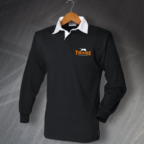 Castleford Rugby Shirt Embroidered Long Sleeve Tigers It's a Way of Life