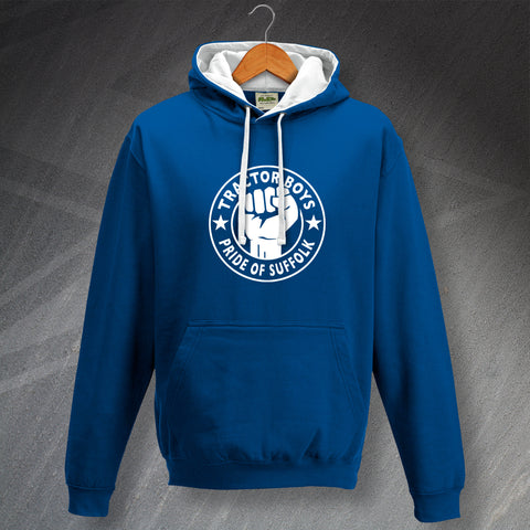 Ipswich Football Hoodie Contrast Tractor Boys Pride of Suffolk