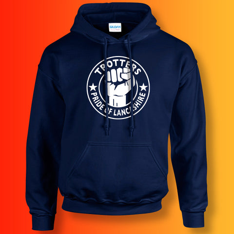 Trotters Hoodie with The Pride of Lancashire Design Navy