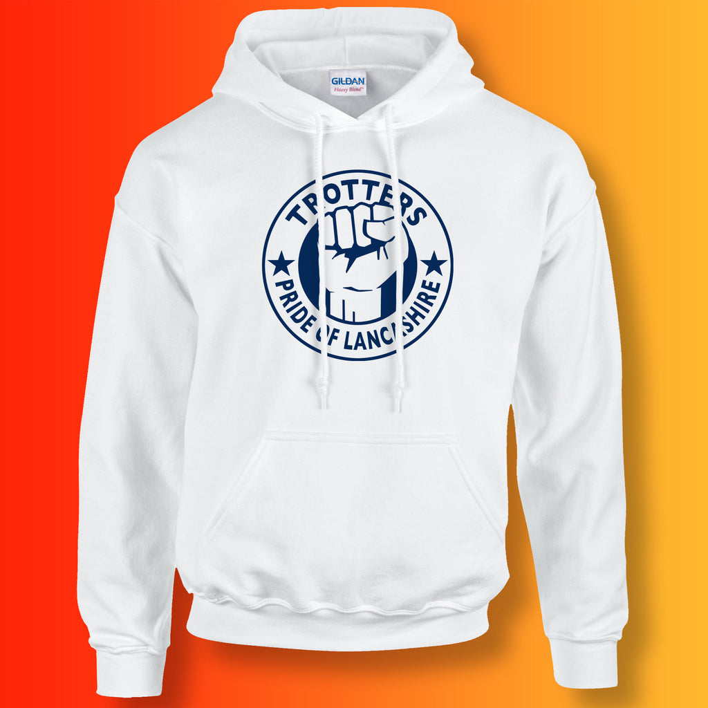 Trotters Hoodie with The Pride of Lancashire Design White