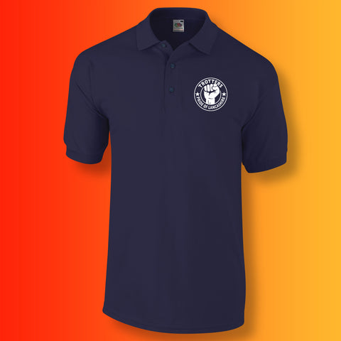 Trotters Polo Shirt with The Pride of Lancashire Design Navy