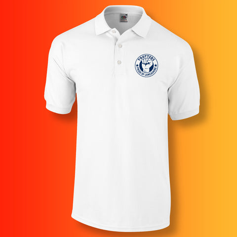 Trotters Polo Shirt with The Pride of Lancashire Design White