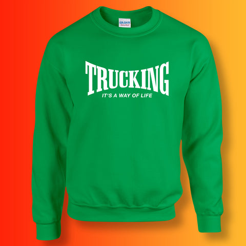 Trucking Sweater with It's a Way of Life Design Green