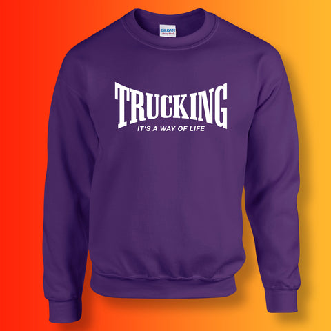 Trucking Sweater with It's a Way of Life Design Purple