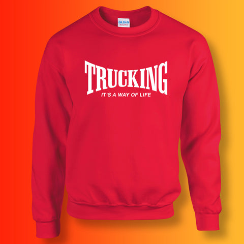 Trucking Sweater with It's a Way of Life Design Red