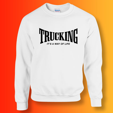 Trucking Sweater with It's a Way of Life Design White