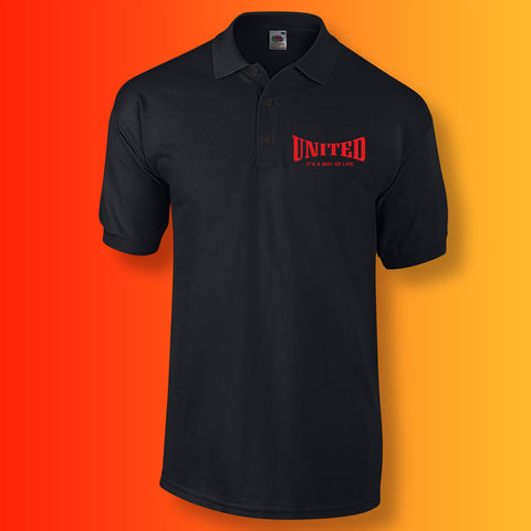 United Polo Shirt with It's a Way of Life Design Black
