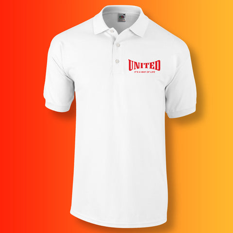 United Polo Shirt with It's a Way of Life Design White