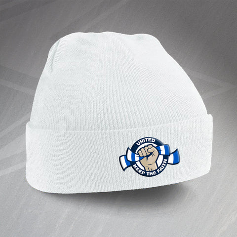 Leeds Football Beanie Hat Embroidered United Keep The Faith
