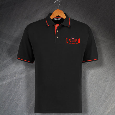 United Football Polo Shirt Embroidered Contrast It's a Way of Life