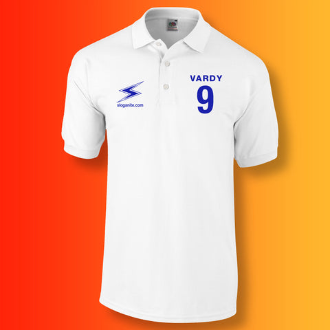 Sloganite Vardy Number 9 Polo Shirt White