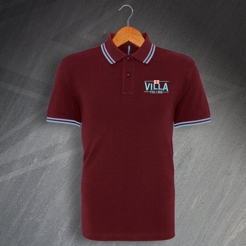 Aston Villa Football Polo Shirt Embroidered Tipped Villa Till I Die