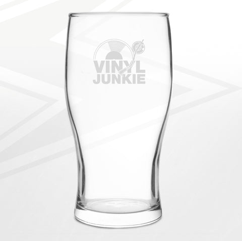 Vinyl Pint Glass Engraved Vinyl Junkie