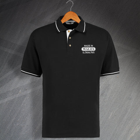 Made In Wales All Original Parts Unisex Embroidered Contrast Polo Shirt