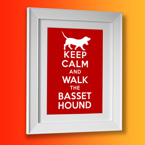 Keep Calm and Walk The Basset Hound Framed Print
