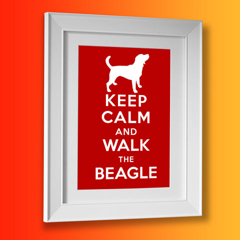 Keep Calm and Walk The Beagle Framed Print