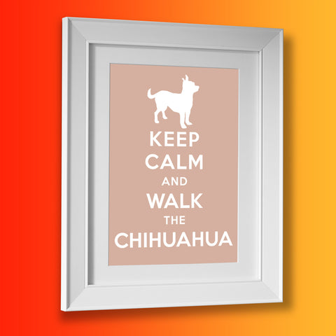 Keep Calm and Walk The Chihuahua Framed Print