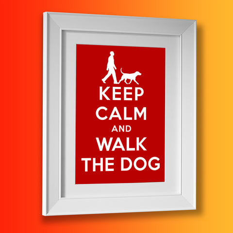 Walk The Dog Picture Framed Print with Keep Calm Design
