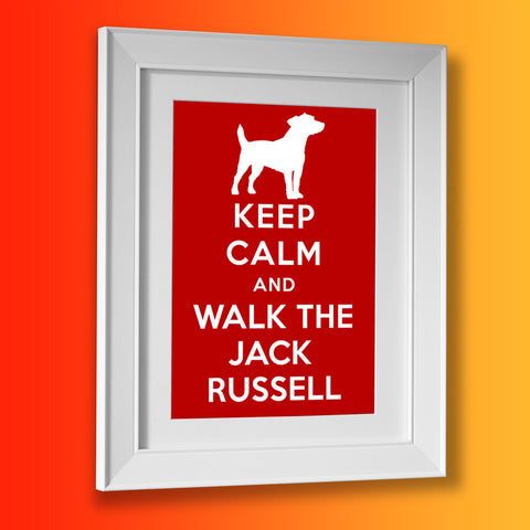 Jack Russell Picture Framed Print with Keep Calm Design