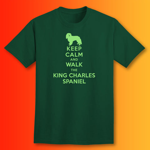 Keep Calm and Walk The King Charles Spaniel T-Shirt Bottle Green