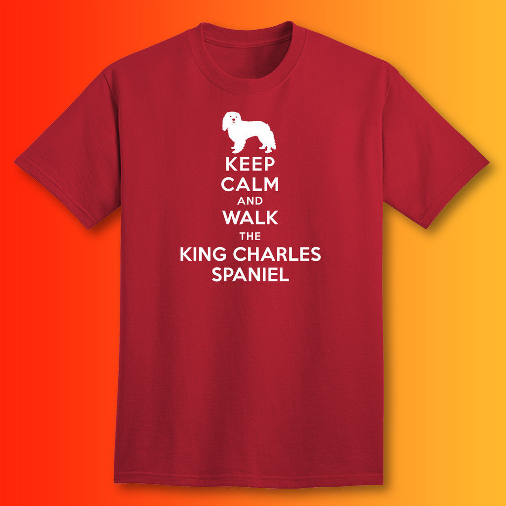 Keep Calm and Walk The King Charles Spaniel T-Shirt Brick Red