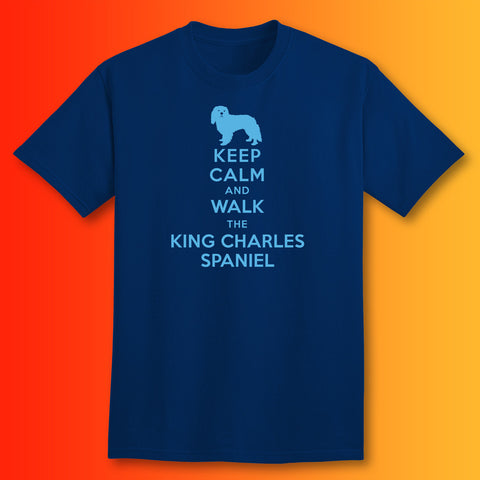 Keep Calm and Walk The King Charles Spaniel T-Shirt Navy