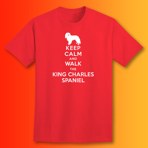 Keep Calm and Walk The King Charles Spaniel T-Shirt Red