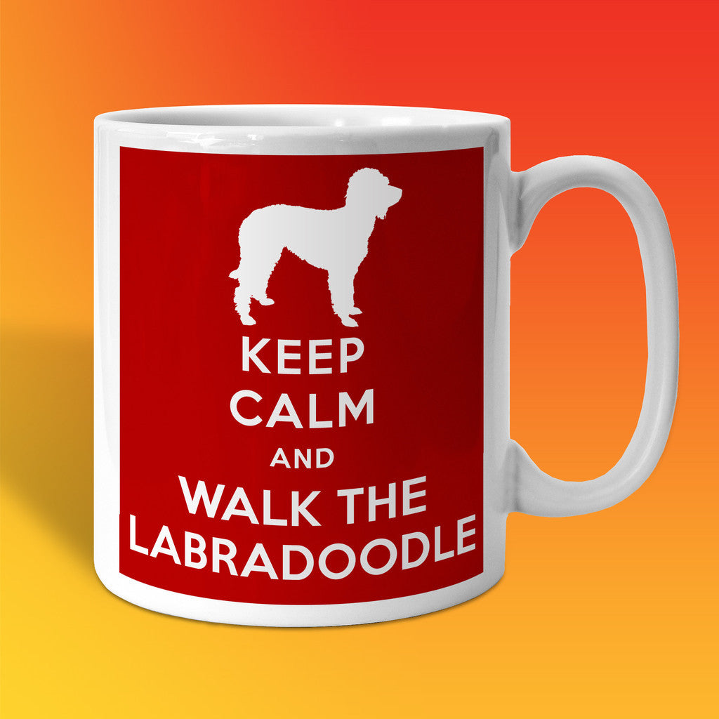 Keep Calm and Walk The Labradoodle Mug Brick Red