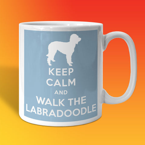 Keep Calm and Walk The Labradoodle Mug Pale Blue