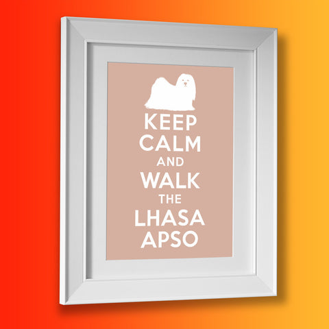 Keep Calm and Walk The Lhasa Apso Framed Print Beige