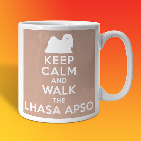 Keep Calm and Walk The Lhasa Apso Mug Beige