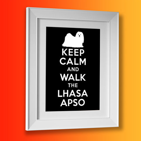 Keep Calm and Walk The Lhasa Apso Framed Print Black