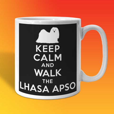 Keep Calm and Walk The Lhasa Apso Mug Black