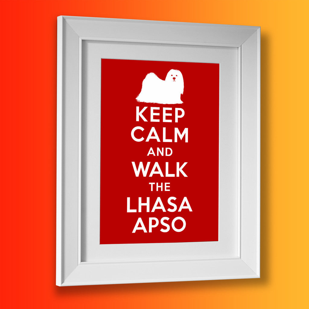 Keep Calm and Walk The Lhasa Apso Framed Print Brick Red