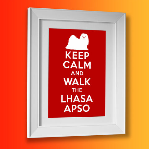 Keep Calm and Walk The Lhasa Apso Framed Print