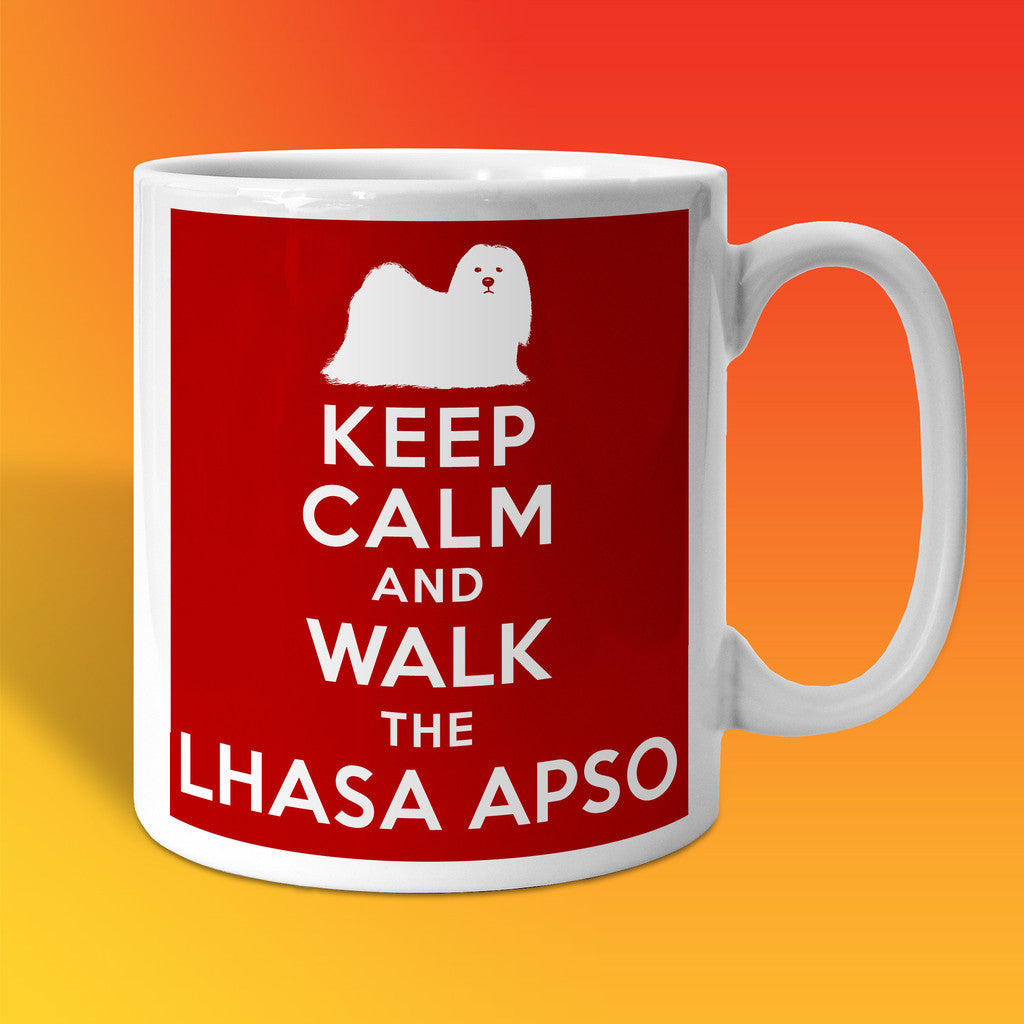 Keep Calm and Walk The Lhasa Apso Mug Brick Red