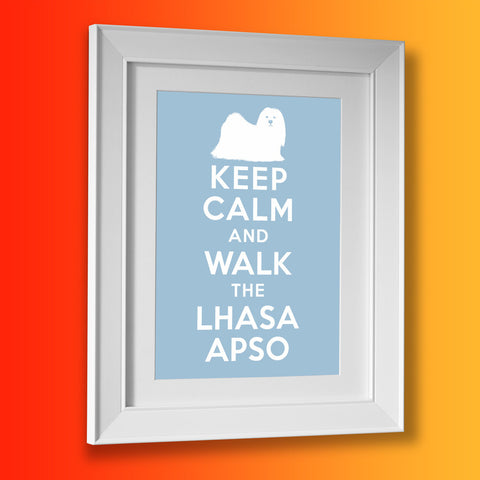 Keep Calm and Walk The Lhasa Apso Framed Print Pale Blue