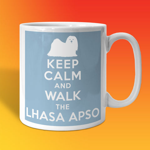 Keep Calm and Walk The Lhasa Apso Mug Pale Blue