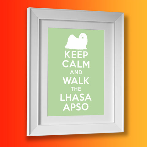 Keep Calm and Walk The Lhasa Apso Framed Print Pale Green